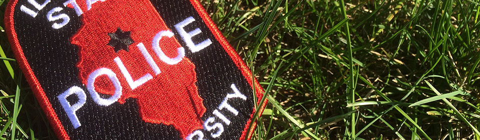 Illinois State police patch in grass.